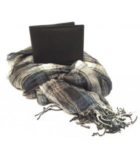 Parure Portafoglio + Pashmina Lancetti colore Nero confezionata in Scatola d Regalo in Legno