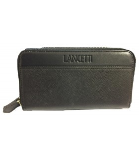 Portafoglio Donna Lancetti in Similpelle  con Doppia Zip colore Nero