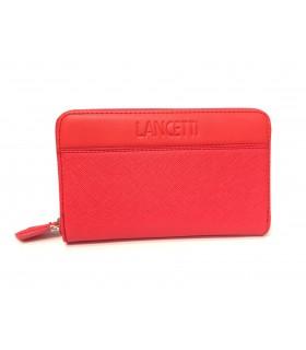 Portafoglio Donna Lancetti in Ecopelle e Tessuto con  Zip colore  Arancio