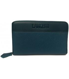 Portafoglio Donna Lancetti in Ecopelle e Tessuto con Zip colore Blu