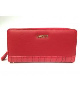 Portafoglio Donna Lancetti in Ecopelle e Tessuto   con Apertura con Zip colore Rosso