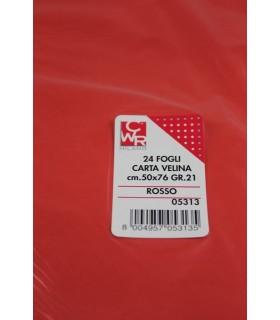 Carta velina CWR 21gr. cm.50x76 conf. 24 fogli Colore rosso