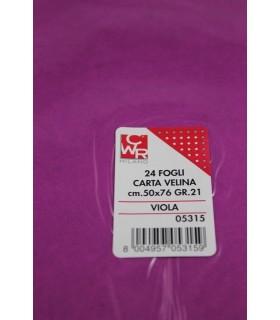 Carta velina CWR 21gr. cm.50x76 conf. 24 fogli colore viola