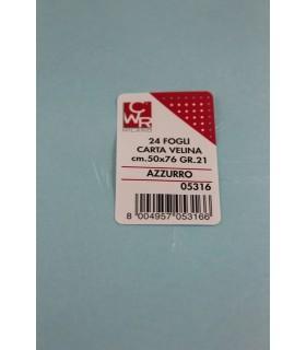 Carta velina CWR 21gr. cm.50x76 conf. 24 fogli colore azzurro