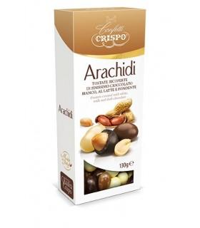 ARACHIDI TOSTATE CRISPO RICOPERTE DI CIOCCOLATO AL LATTE, FONDENTE E BIANCO 130 G