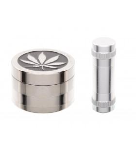 Grinder in Metallo Atomic 4 Parti  con Pressatore in Alluminio  confezionato in scatola da regalo