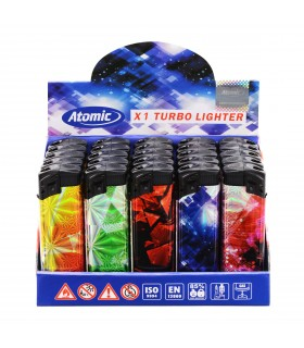 Accendino Elettronico Atomic Turbo  conf. 25 pz. assortito con 5 grafiche