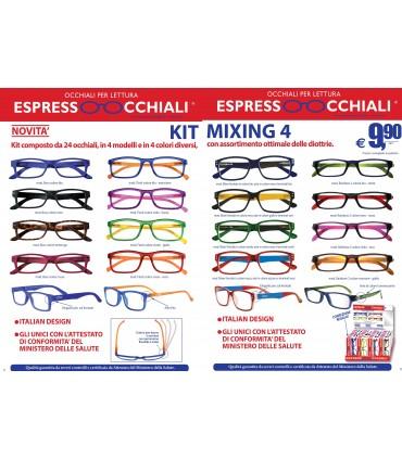 Occhiali da Lettura Espresso Occhiali Mixing 4 Expo girevole 24 pz. assortito con 4 modelli