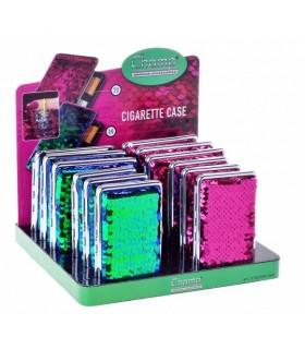 Portasigarette Champ in Metallo con Superficie Glitterata Expo da 12 pz. assortito con 2 misure