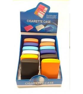 Portatabacco Dual per iQOS e Sigarette Normali Flaminaire in Metallo Gommato Expo da 12 pz. colori assortiti