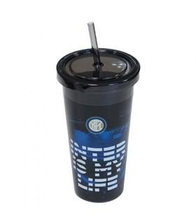 Bicchiere in Plastica Atlo con Cannuccia FC Inter