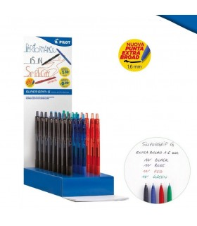 Penna a scatto Pilot  Super Grip punta 1.6 mm  Expo 48 pz. colori assortiti