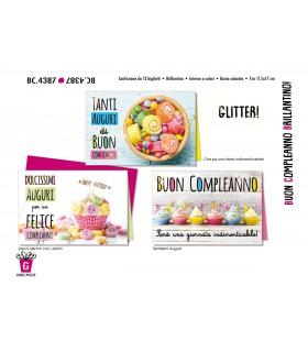 Biglietto Cromo Compleanno con Brillantino conf. 12 pz. assortiti