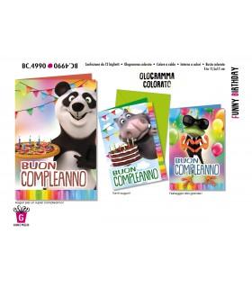 Biglietto Cromo Compleanno Funny Birthdyay conf. 12 pz. assortiti