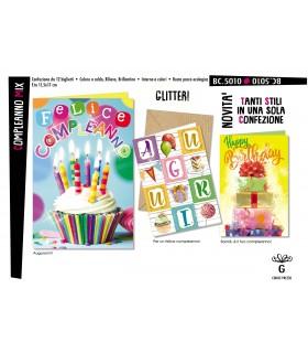 Biglietto Cromo Compleanno Mix conf. 12 pz. assortiti