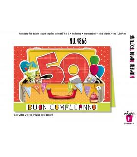 Biglietto Cromo Compleanno 50 Anni conf. 6 pz.