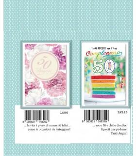 Biglietto Marpimar Compleanno 50 Anni con Glitter conf. 12 pz. assortiti con 2 fantasie