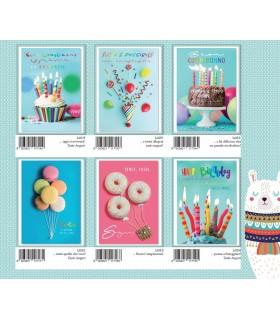 Biglietto Marpimar Compleanno con Glitter conf. 12 pz. assortiti