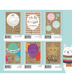 Biglietto Marpimar Compleanno su carta Kraft conf. 12 pz. assortiti