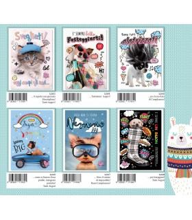 Biglietto Compleanno Marpimar Animali con Glitter conf. 12 pz. assortiti