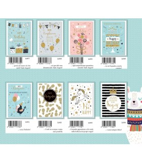 Biglietto Marpimar Compleanno con glitter e foil conf. 12 pz. assortiti