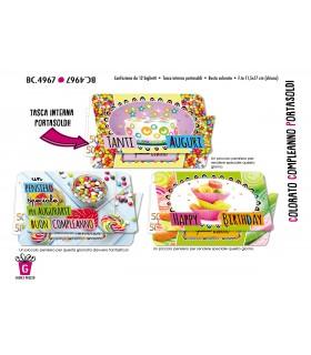 Biglietto Cromo Compleanno Portasoldi conf. 12 pz. assortiti
