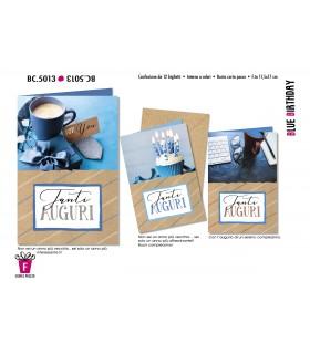 Biglietto Cromo Compleano Blue conf. 12 pz. assortiti