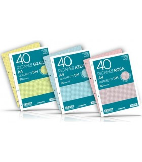 Ricambi colorati Blasetti Formato A4 Rig. 5M Cartone da 30 pz. colori assortiti