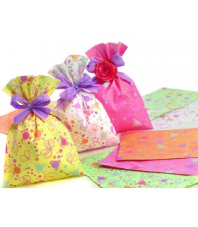 Buste Regalo in PPL Fantasia Falena mis.16x25 cm conf. da 100 pz assortito con 5 colori