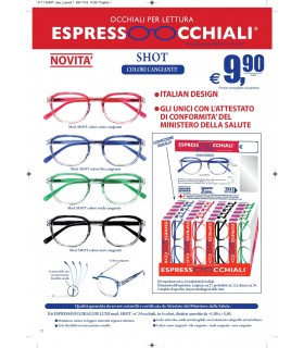 Occhiali da Lettura Espresso Occhiali Mod. Shot Expo da 24 pz. assortiti in 4 colori