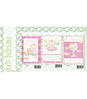 Biglietto Marpimar Battesimo Bimbina con Glitter conf. 12 pz. assortiti