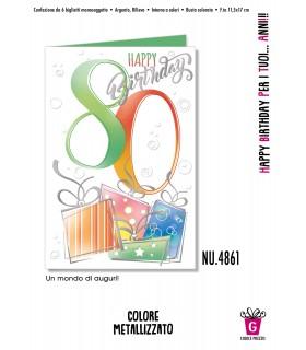 Biglietto Cromo Compleanno 80 Anni conf. 6 pz.