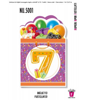 Biglietto Cromo Compleanno Bimbi Fustella 7 Anni conf. 6 pz.