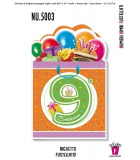 Biglietto Cromo Compleanno Bimbi Fustellati conf. 6 pz.