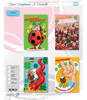 Biglietto Carto Gi Compleanno Le Coccinelle conf. 12 pz. assortiti