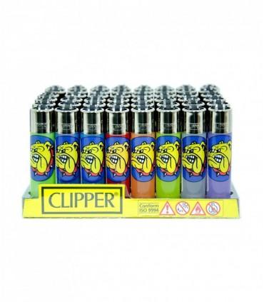 Accendino Clipper Large The Bulldog color trasparente  conf. 48 pz. assortiti