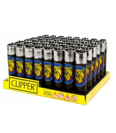 Accendino Clipper Large The Bulldog Black conf. 48 pz.