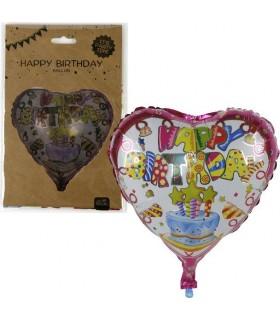 Palloncino Happy Birthday a Forma di cuore Diametro 45 cm