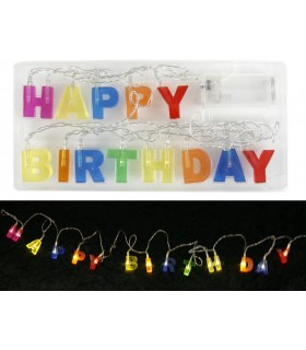 "Scritta Luminosa a Led ""Happy Birthday"" lunga 180 cm"