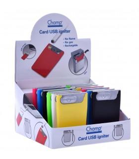 Accendino Champ Card con Ignitore e ricarica USB Expo da 12 pz. assortito con 6 colori