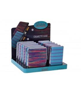 Portasigarette in Metallo con Ricamo in Stoffa Expo da 12 pz. assortito con 2 modelli