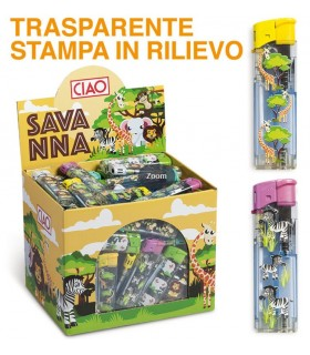 Accendino Elettronico Ciao Savanna Expo 100 pz. assortito con 5 grafiche