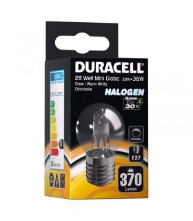 Lampadina Duracell Halogen Candela Passo Piccolo E27 potenza 28 Watt resa 36 Watt