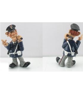 """Caricature Mestieri """"Il Poliziotto Italiano"""" H. 15 cm"""