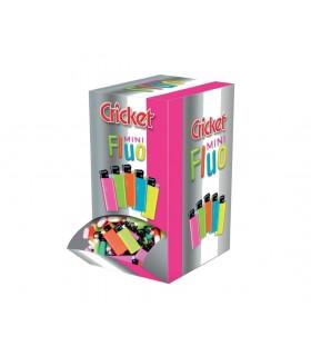 Accendino Cricket Mini Fluo Expo da banco con 200 pz. colori assortiti