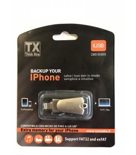 Adattatore con spina lightning per I-Phone/I-Pad Compatibile con Micro SD (non inclusa)