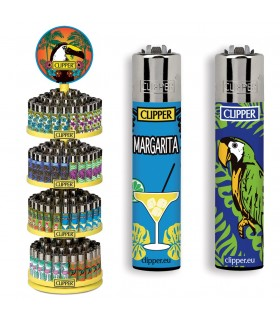 Accendino Clipper Tropical Expo Girevole da 192 pz. assortito con 16 grafiche