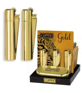 Accendino Clipper Large Gold in Metallo Expo da 12 pz.