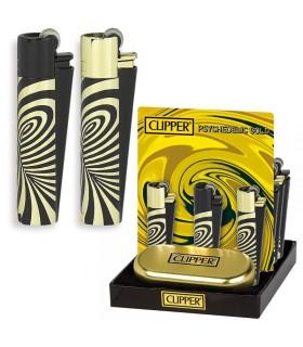 Accendino Clipper Large Psich Gold in Metallo Expo da 12 pz.
