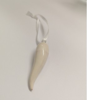 Cornetto Bianco in Ceramica H.6 cm Realizzato a mano
